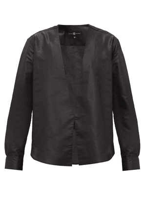 Edward Crutchley - V-neck Silk-satin Shirt - Mens - Black