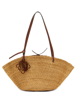 Loewe Paula's Ibiza - Shell Small Raffia And Leather Tote Bag - Womens - Beige