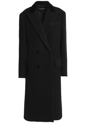 Dolce & Gabbana Double-breasted Velvet-trimmed Wool And Cotton-blend Coat Woman Black Size 38