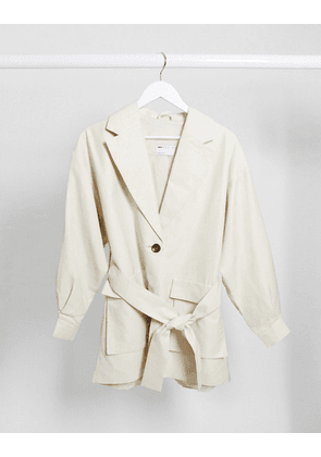 ASOS DESIGN utility belted suit blazer in ivory-White