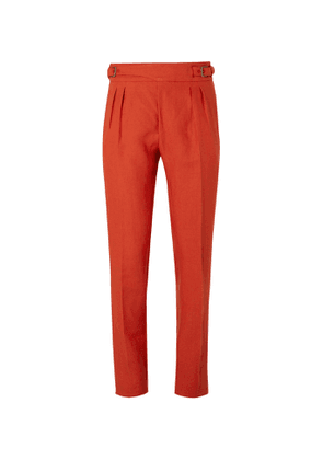 Anderson & Sheppard - Pleated Linen Trousers - Men - Red