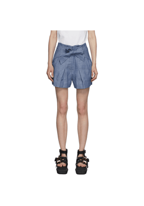 3.1 Phillip Lim Blue Chambray Front Tie Shorts
