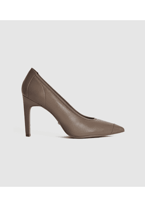 Reiss Lowri - Leather Point Toe Court Shoes in Mid Grey, Womens, Size 4