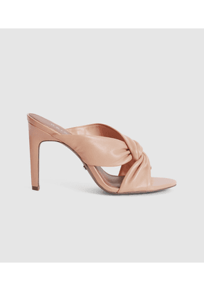 Reiss Ella - Leather Twist Front Heeled Mules in Pale Pink, Womens, Size 4