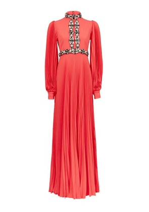 Andrew Gn - Embellished Plissé-sleeve Silk-blend Gown - Womens - Coral