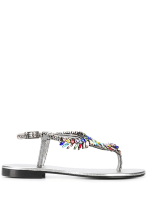 Jewel Leather Thong Sandals