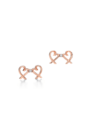 Paloma Picasso® Double Loving Heart earrings in 18ct rose gold with diamonds