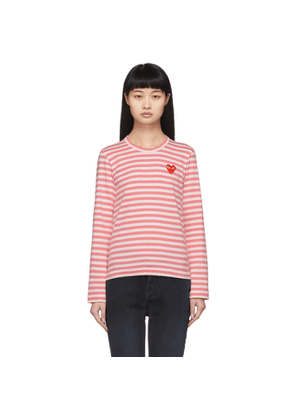 Comme des Garcons Play Pink and White Striped Heart Patch Long Sleeve T-Shirt