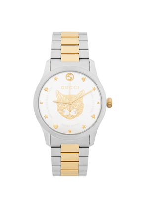 Gucci Silver and Gold Cat G-Timeless Watch
