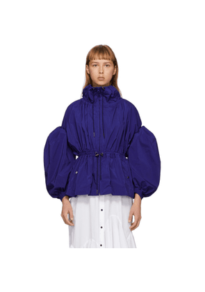 Enfold Blue Taffeta Gather Volume Jacket