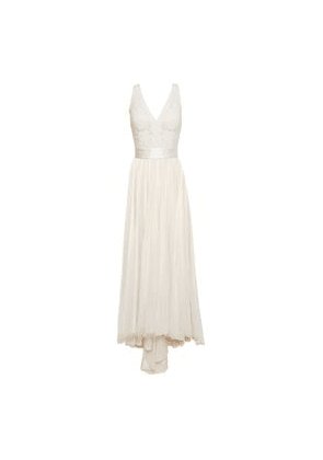 Catherine Deane Satin-trimmed Embroidered Tulle Gown Woman Cream Size 12