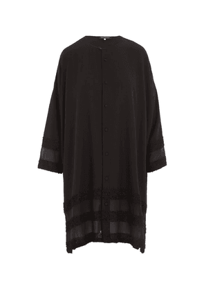 Long Collarless Silk Shirt