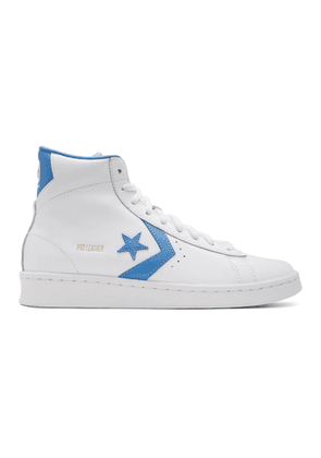 Converse White and Blue Leather Pro Mid Sneakers