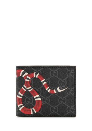 Snake Printed Coated Canvas Wallet