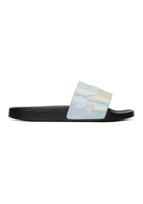 Givenchy Silver Pool Slides