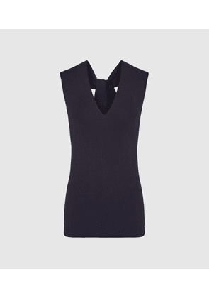 Reiss Hayley - Knitted V-neck Top in Navy, Womens, Size XS