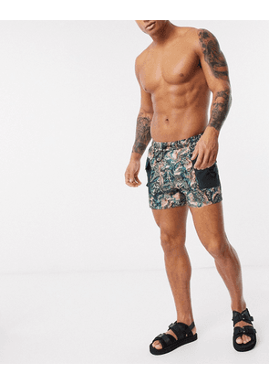 ASOS DESIGN co-ord swim shorts in marble print with cargo pockets-Multi
