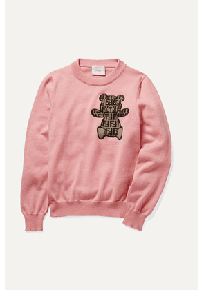 Fendi Kids - Embroidered Cotton, Cashmere And Wool-blend Sweater - Baby pink