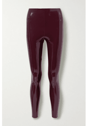 Commando - Stretch Faux Patent-leather Leggings - Burgundy