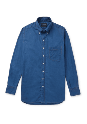 Drake's - Slim-fit Button-down Collar Cotton And Linen-blend Shirt - Blue