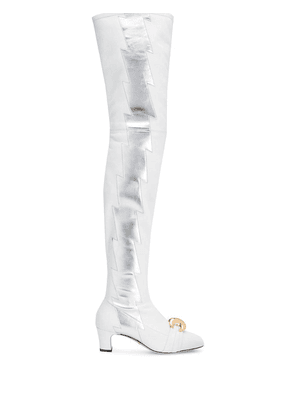 Gucci thigh-high lightning bolt boots - White