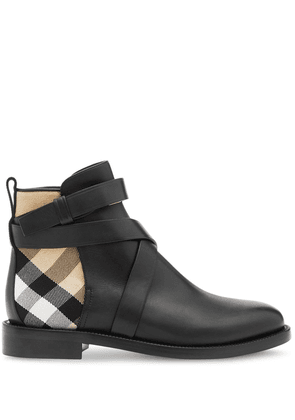 Burberry House check and leather ankle boots - Black