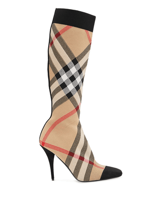Burberry check stretch knit sock boots - Neutrals