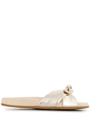 Charlotte Olympia Dylan knotted metallic slides - GOLD