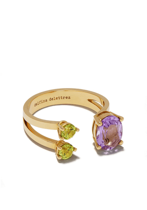 Delfina Delettrez 18kt yellow gold Dots amethyst and peridot ring - YG