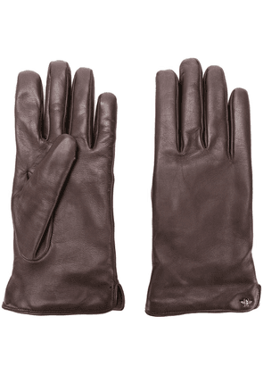 Gucci bee motif gloves - Brown