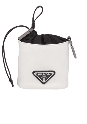 Prada Leather pouch trick bag - White
