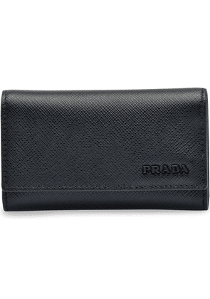 Prada Saffiano leather keychain with hooks - Black