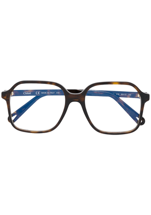 Chloé Eyewear oversized square frame glasses - Brown