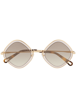 Chloé Eyewear Poppy diamond-frame sunglasses - GOLD