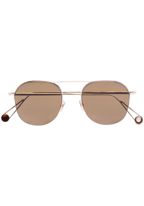 Ahlem Saint Sulpice round-frame 22kt gold-plated sunglasses - Brown