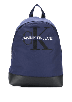 Calvin Klein monogram embroidery backpack - Blue