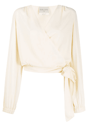 Forte Forte relaxed-fit wrap blouse - NEUTRALS