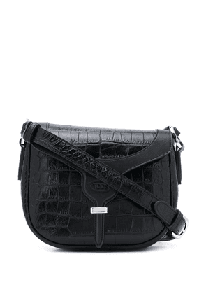Tod's crocodile-effect shoulder bag - Black