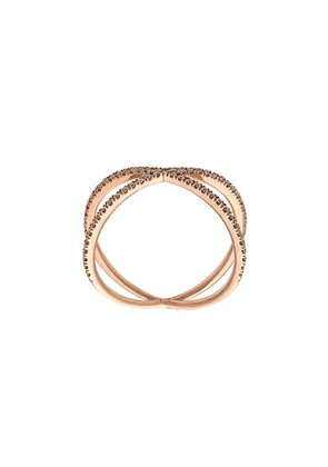 Eva Fehren Fine Shorty criss-cross ring - Metallic