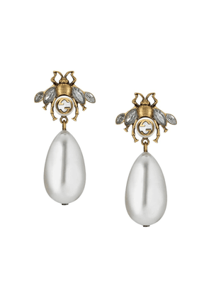 Gucci Bee earrings with drop pearls - NEUTRALS