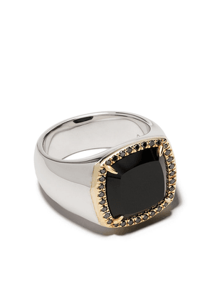 Tom Wood onyx detailed signet ring - STERLING SILVER 9KT GOLD BLACK