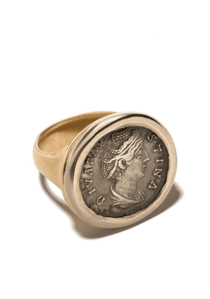 Hum 18kt gold engraved signet ring - 18KT YELLOW WHITE GOLD