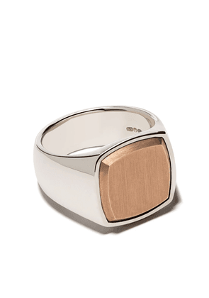 Tom Wood Cushion signet ring - STERLING SILVER 9KT ROSE GOLD
