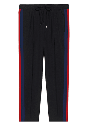 Gucci Wool cropped pant with stripe - Black
