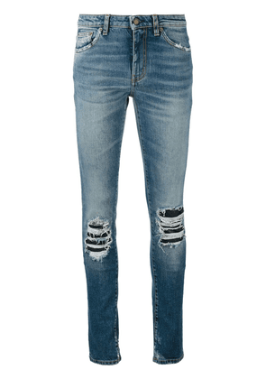Saint Laurent ripped detail jeans - Blue