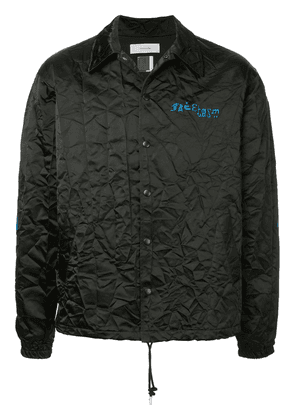 Facetasm embroidered logo crinkle jacket - Black