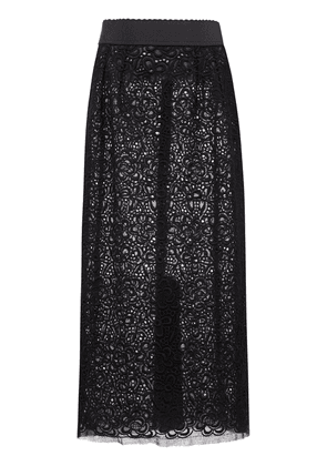 Dolce & Gabbana floral-lace fitted skirt - Black
