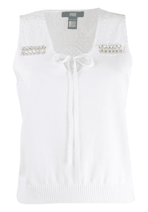 Cavalli Class crystal embellished knitted top - White