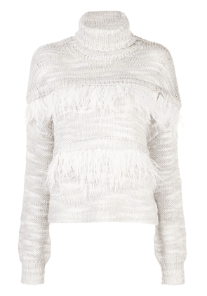 Cinq A Sept feather-embellished knitted jumper - Grey