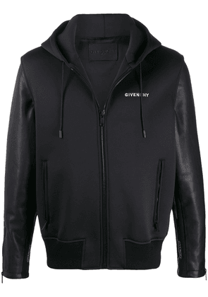 Givenchy leather sleeves hooded jacket - Black
